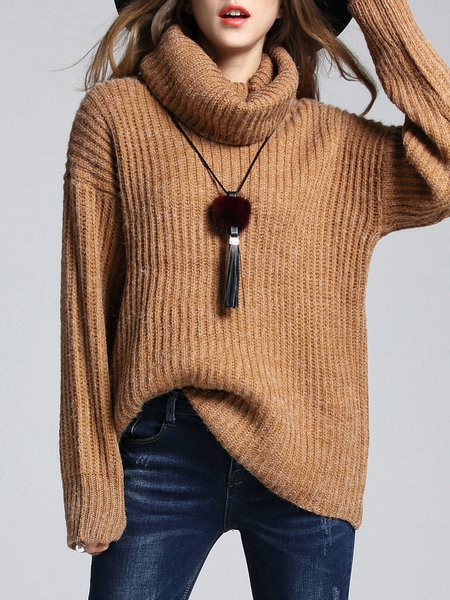 Camel Turtleneck Knitted Simple Sweater - StyleWe.com