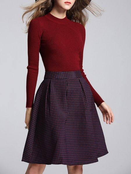Wine Red Casual Two Piece Midi Dress