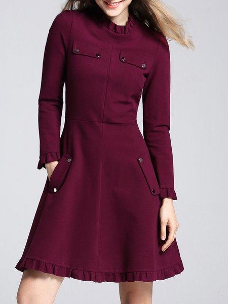 Fuchcia Ruffled Pockets Plain Girly Midi Dress