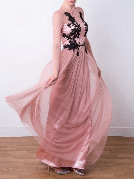 Pink Tulle Embroidered Long Sleeve Evening Dress