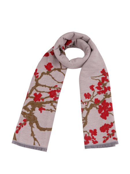 Apricot Elegant Floral Polyester Scarf