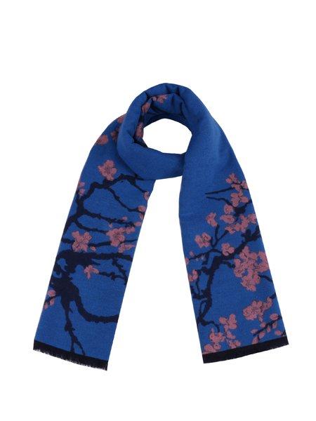 Blue Elegant Polyester Floral Scarf
