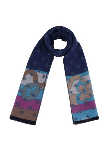 Dark Blue Floral Color-block Scarf