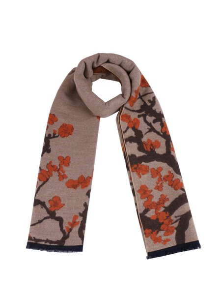 Brown Elegant Floral Printed Scarf