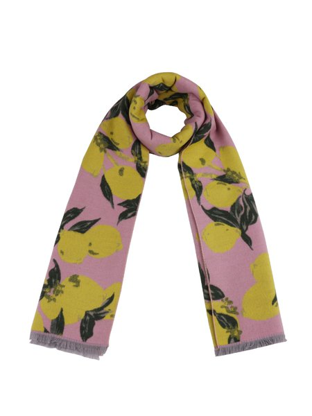 Pink Cute Lemon Printed Scarf