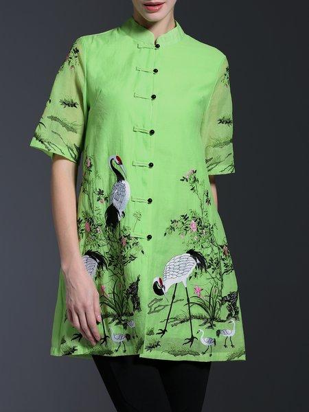 Green Vintage Polyester Stand Collar A-line Shirt Dress