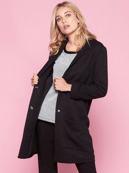 Black Basic Pockets H-line Coat
