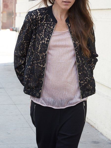 Black Crocheted Girly Lace Floral Bomber Jacket