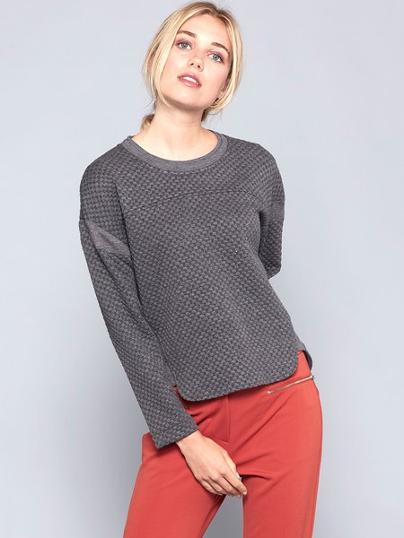 Gray Basic Jersey Plain Long Sleeved Top