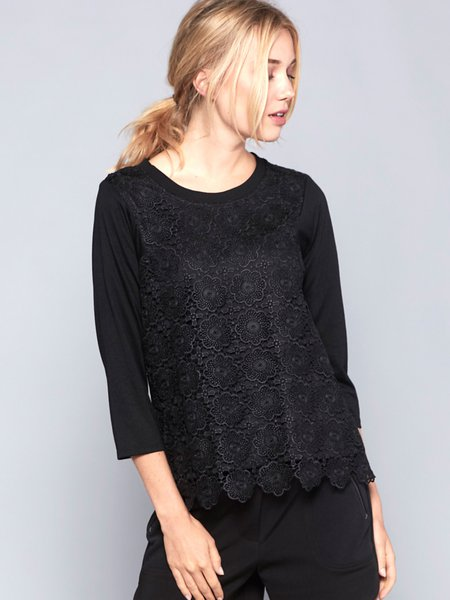 Black Crocheted Lace 3/4 Sleeve Top