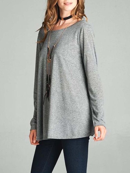Gray A-line Long Sleeve Cutout Girly Tunic