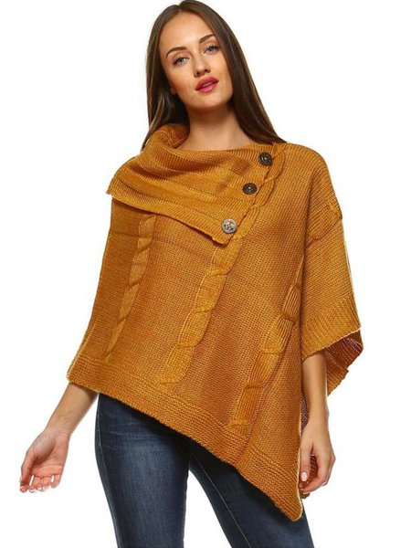 Mustard Solid Casual Asymmetric Buttoned Poncho