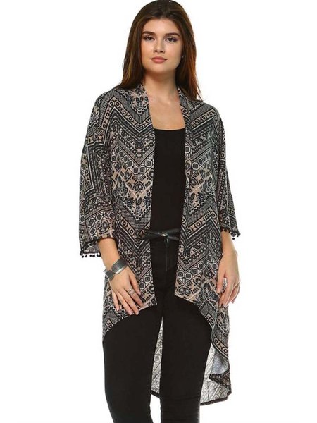 Gray Tribal Printed Casual High Low Cardigan