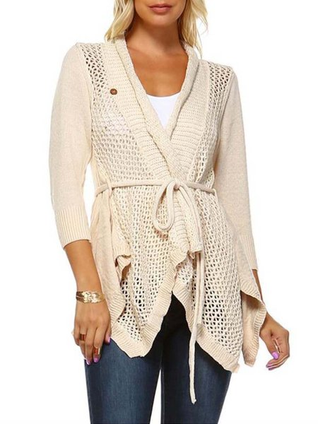 Ivory Pierced 3/4 Sleeve Knitted Cardigan with Belt