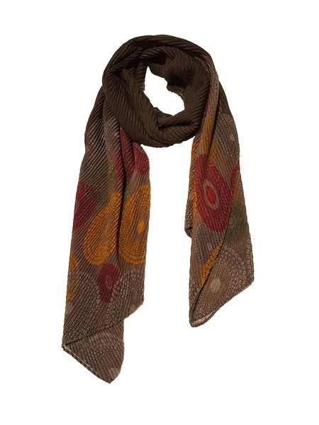 Brown Elegant Printed Pleated Scarf