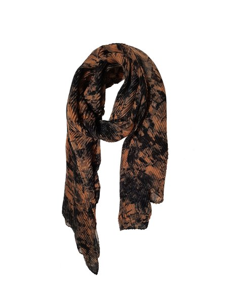 Orange Pleated Elegant Abstract Scarf