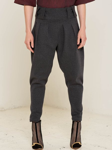 Gray Folds Solid Simple Wool Straight Leg Pants