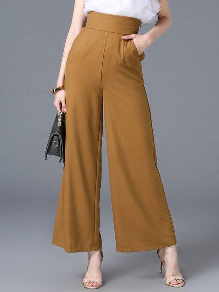 Pockets Wool Blend Elegant Solid Wide Leg Pants