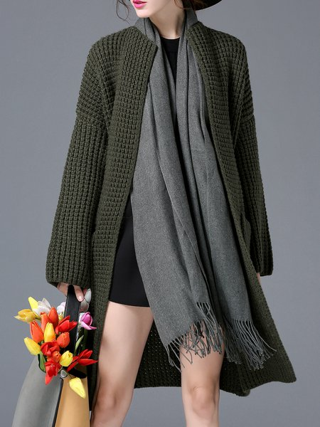 Pockets Knitted Casual Wool Blend Solid Cardigan