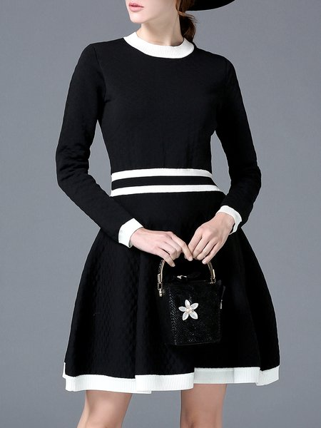 Color-block Knitted A-line Long Sleeve Sweater Dress