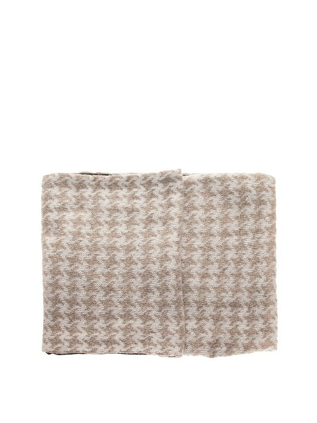 Beige Knitted Houndstooth Chimney Scarf