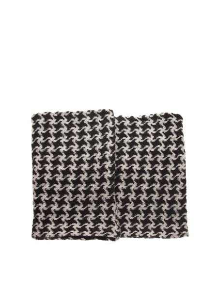 Black Knitted Houndstooth Chimney Scarf
