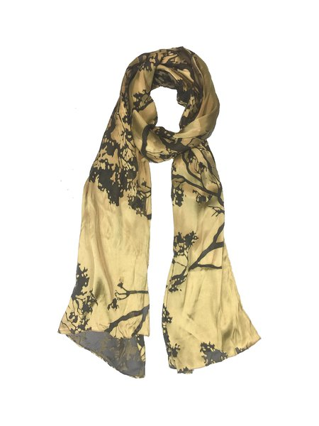 Golden Silk Floral Blossoms Devore Scarf