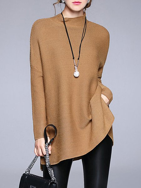 Batwing Turtleneck Slit Knitted Solid Sweater