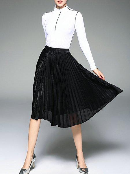 Elegant Pleated Turtleneck Cotton Long Sleeve Midi Dress