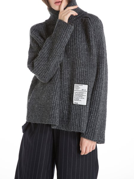 Appliqued Turtleneck Wool Blend Raglan Sleeve Sweater