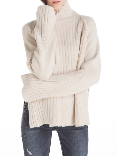 Raglan Sleeve Shift Slit Turtleneck Wool Blend Sweater