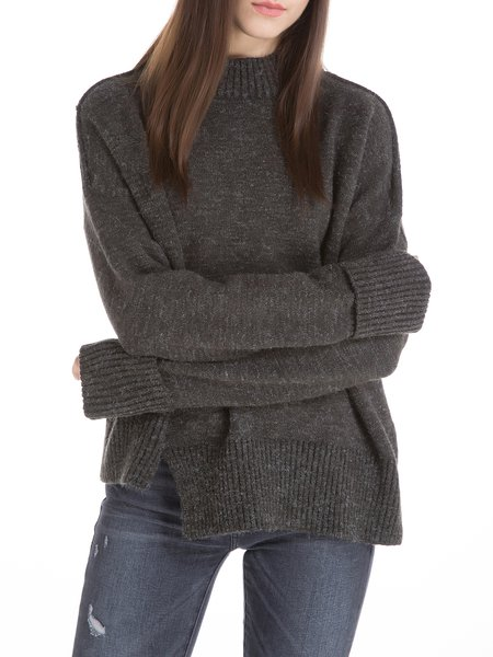Gray Stand Collar Solid Wool Blend Sweater