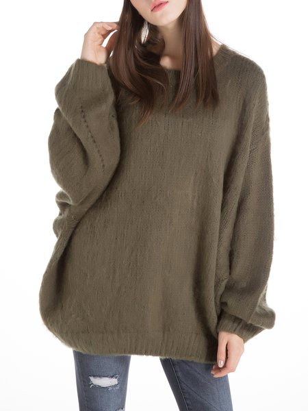 Dark Green Wool Blend Balloon Sleeve Sweater
