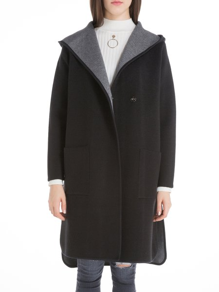 Hoodie Pockets Slit Wool Blend H-line Coat