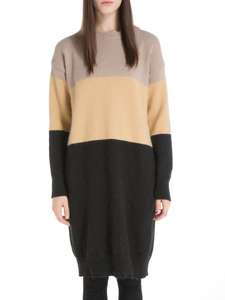 Color-block H-line Wool Blend Sweater Dress