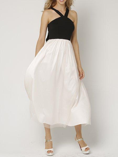 White Girly Color-block Spaghetti Swing Midi Dress