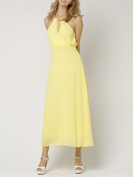 Yellow Plain Girly Sleeveless Halter Midi Dress