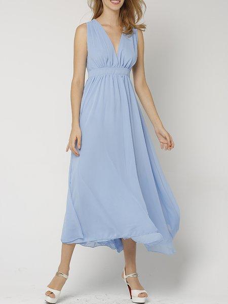 Sky Blue Cutout Sleeveless Plunging Neck Midi Dress