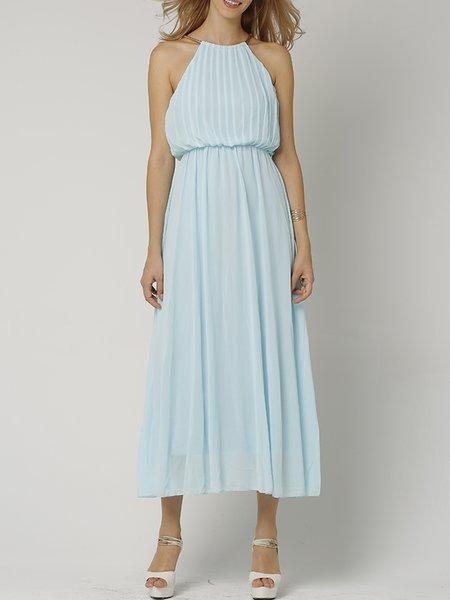 Halter Girly Sleeveless Midi Dress
