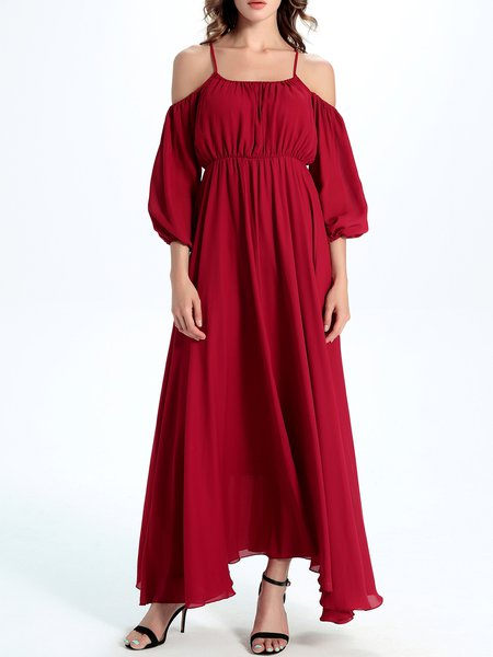 Red Balloon Sleeve Cold Shoulder Chiffon Maxi Dress