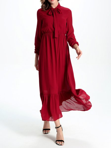 Red Bow Flounce Long Sleeve Elegant Maxi Dress