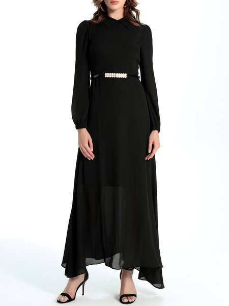 Black A-line Long Sleeve Chiffon Maxi Dress