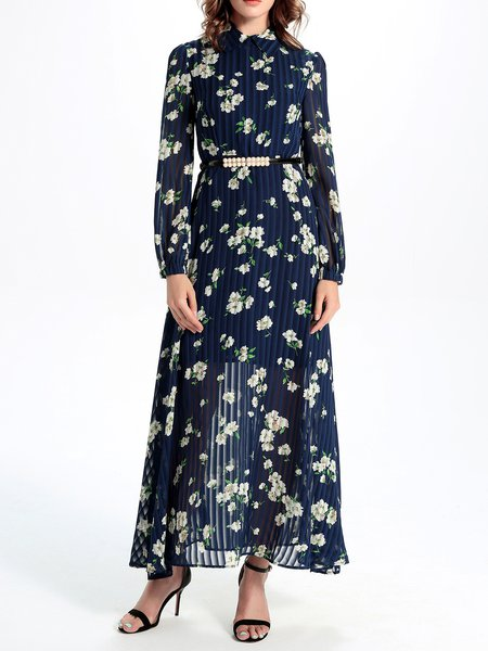 Navy Blue Pleated Floral Chiffon Long Sleeve Maxi Dress