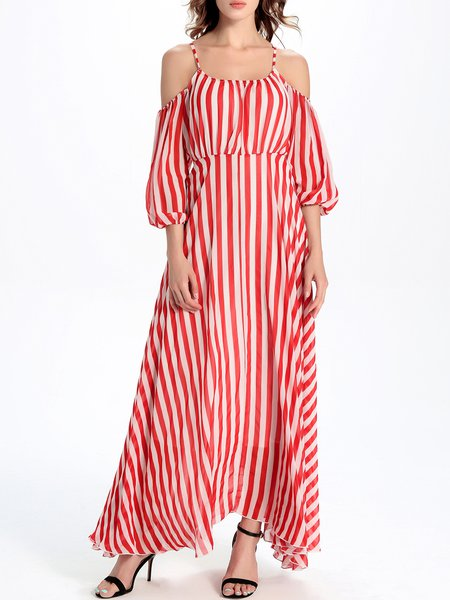 Stripes Swing Balloon Sleeve Boho Cold Shoulder Maxi Dress