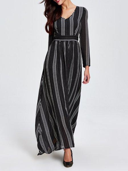 Black Stripes V Neck A-line Casual Maxi Dress