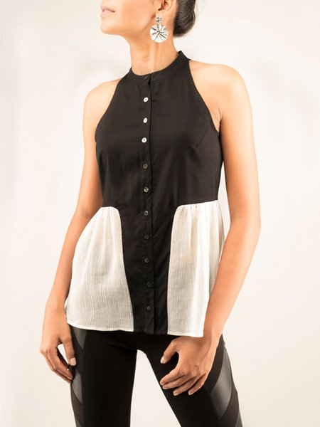 Black-white Ruffled Halter Sleeveless Blouse