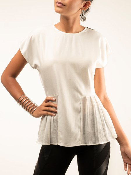 Cotton Solid Short Sleeve Ruffled Casual T-Shirt