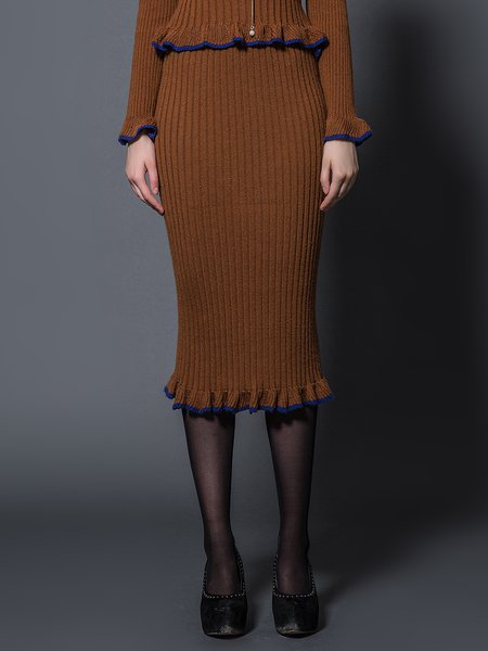 Coffee Flounce Knitted Casual Midi Skirt