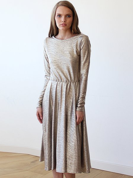 Golden Crew Neck Plain Cutout Elegant Midi Dress