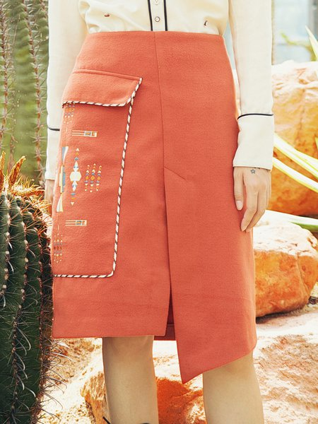 Orange Embroidered Vintage Tribal Asymmetrical Midi Skirt